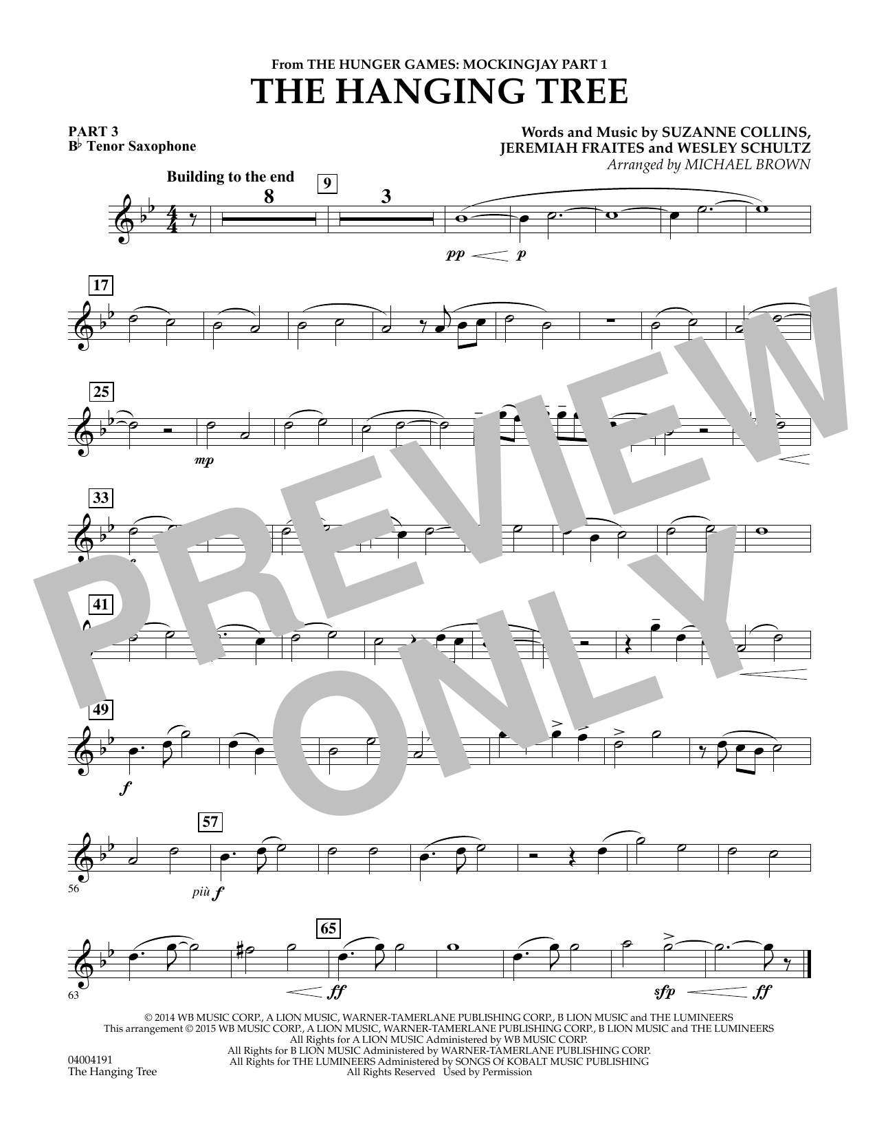 The Hanging Tree (from The Hunger Games: Mockingjay Part 1) - Pt.3 - Bb Tenor Saxophone (Flex-Band)