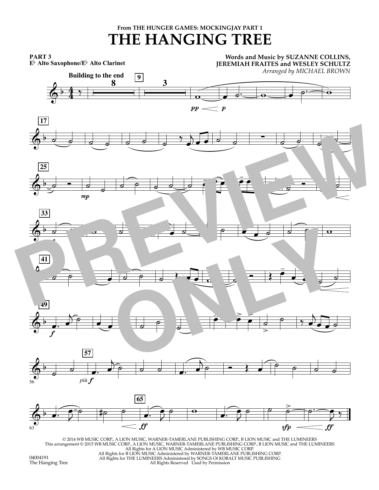The Hanging Tree (from The Hunger Games: Mockingjay Part 1) - Pt.3 - Eb Alto Sax/Alto Clar. (Flex-Band)