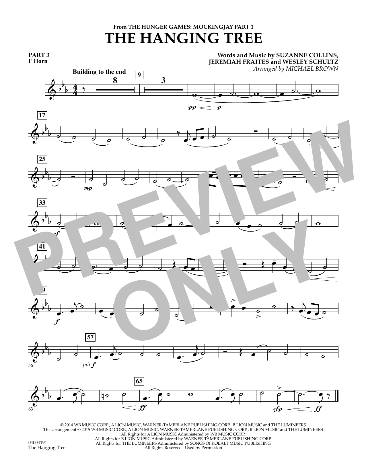 The Hanging Tree (from The Hunger Games: Mockingjay Part 1) - Pt.3 - F Horn (Flex-Band)