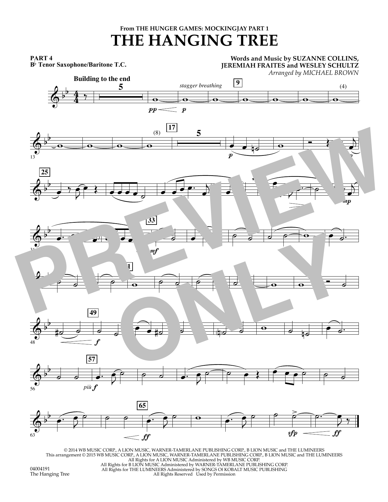 The Hanging Tree (from The Hunger Games: Mockingjay Part 1) - Pt.4 - Bb Tenor Sax/Bar. T.C. (Flex-Band)