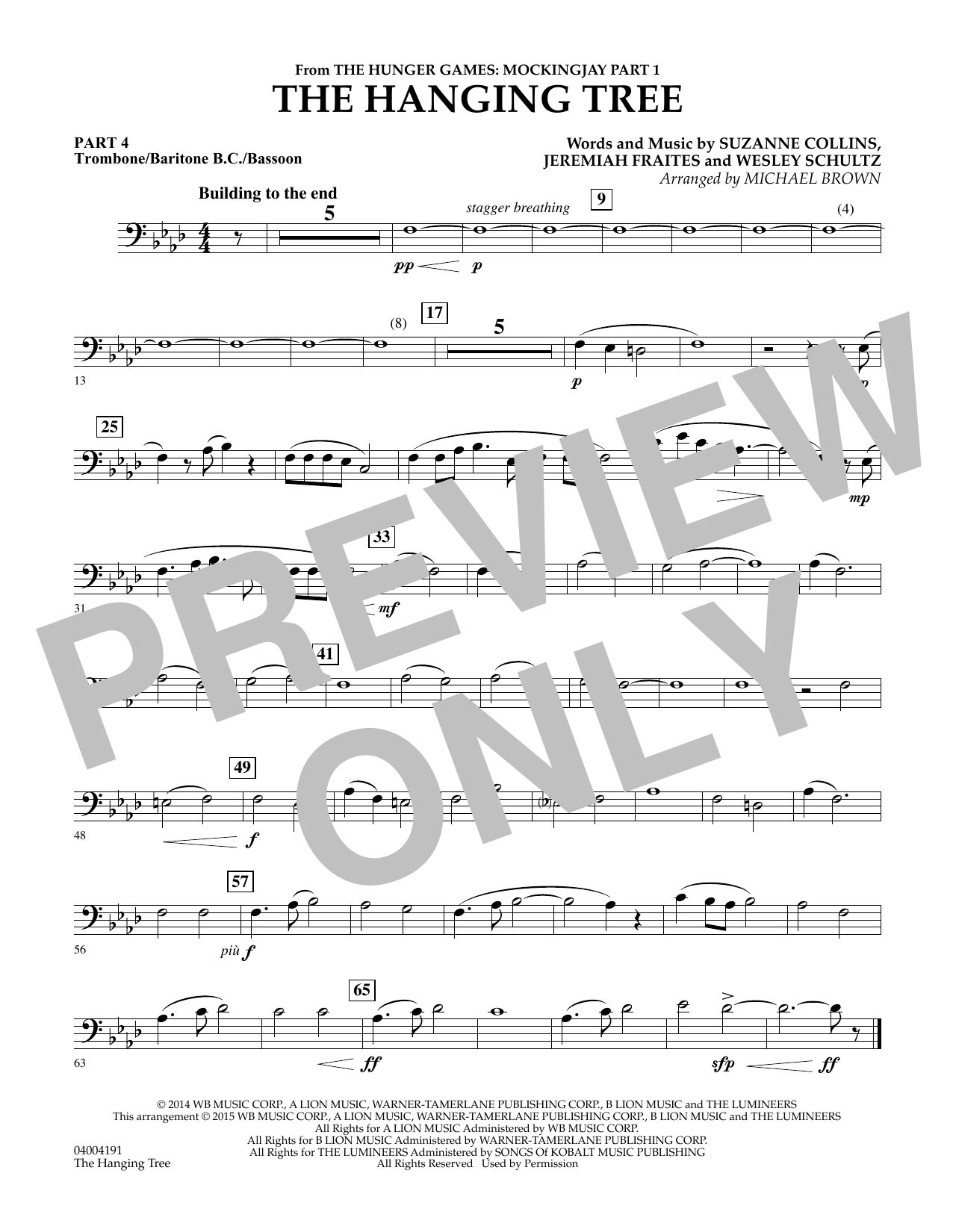The Hanging Tree (from The Hunger Games: Mockingjay Part 1) - Pt.4 - Trombone/Bar. B.C./Bsn. (Flex-Band)