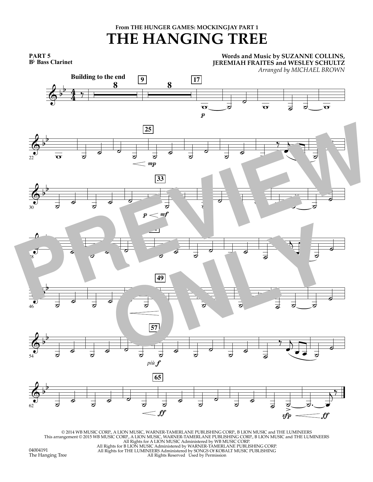 The Hanging Tree (from The Hunger Games: Mockingjay Part 1) - Pt.5 - Bb Bass Clarinet (Flex-Band)