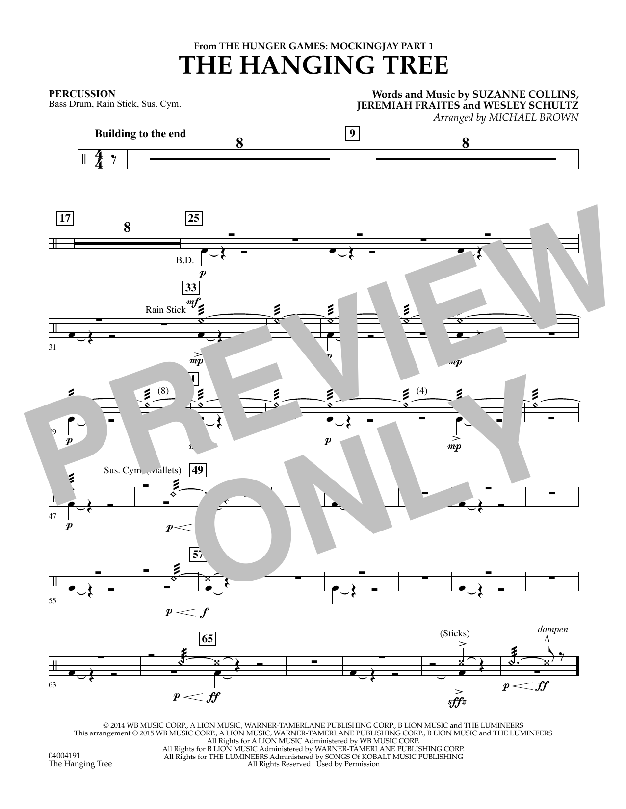 The Hanging Tree (from The Hunger Games: Mockingjay Part 1) - Percussion (Flex-Band)
