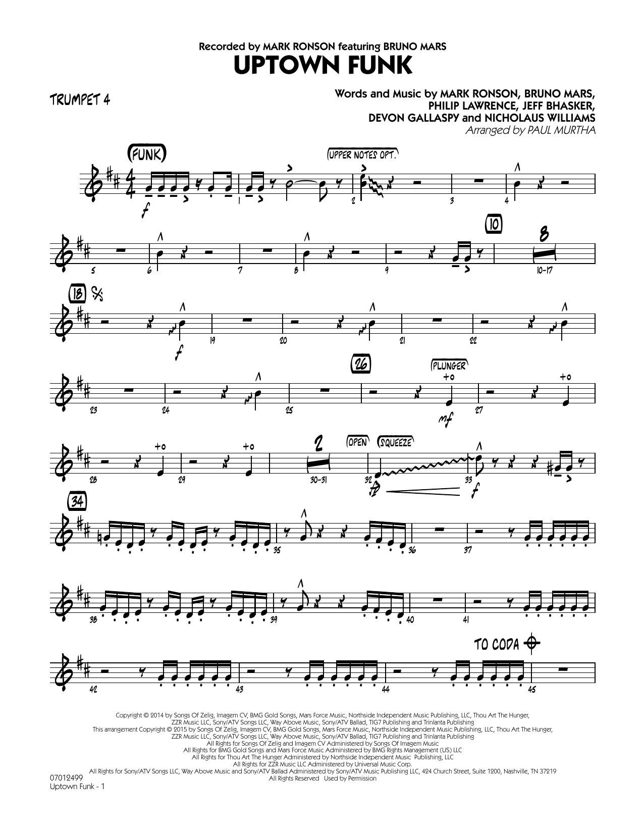 Uptown Funk! - Trumpet 4 (Jazz Ensemble)