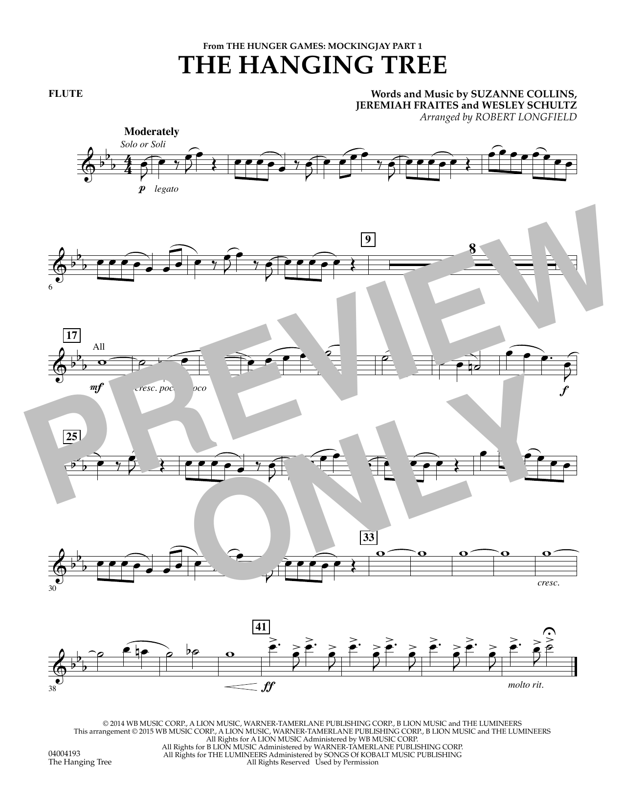 The Hanging Tree (from The Hunger Games: Mockingjay Part 1) - Flute (Concert Band)