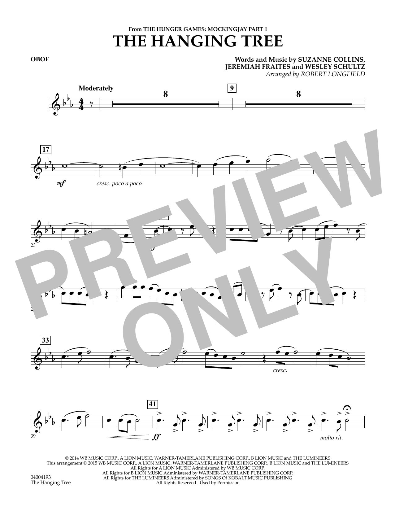 The Hanging Tree (from The Hunger Games: Mockingjay Part 1) - Oboe (Concert Band)