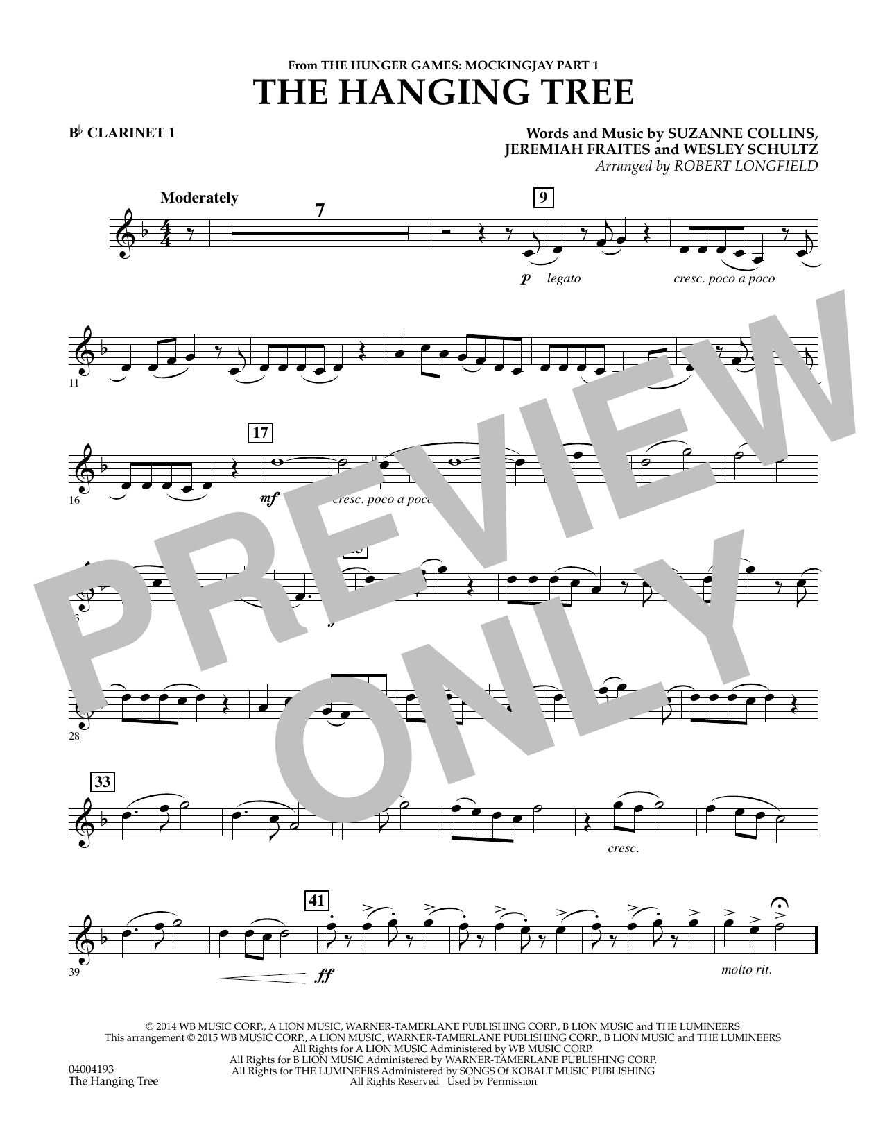 The Hanging Tree (from The Hunger Games: Mockingjay Part 1) - Bb Clarinet 1 (Concert Band)