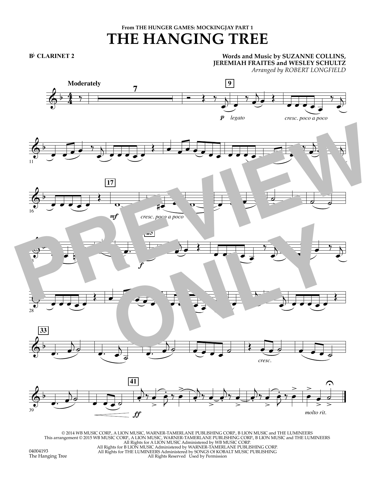 The Hanging Tree (from The Hunger Games: Mockingjay Part 1) - Bb Clarinet 2 (Concert Band)