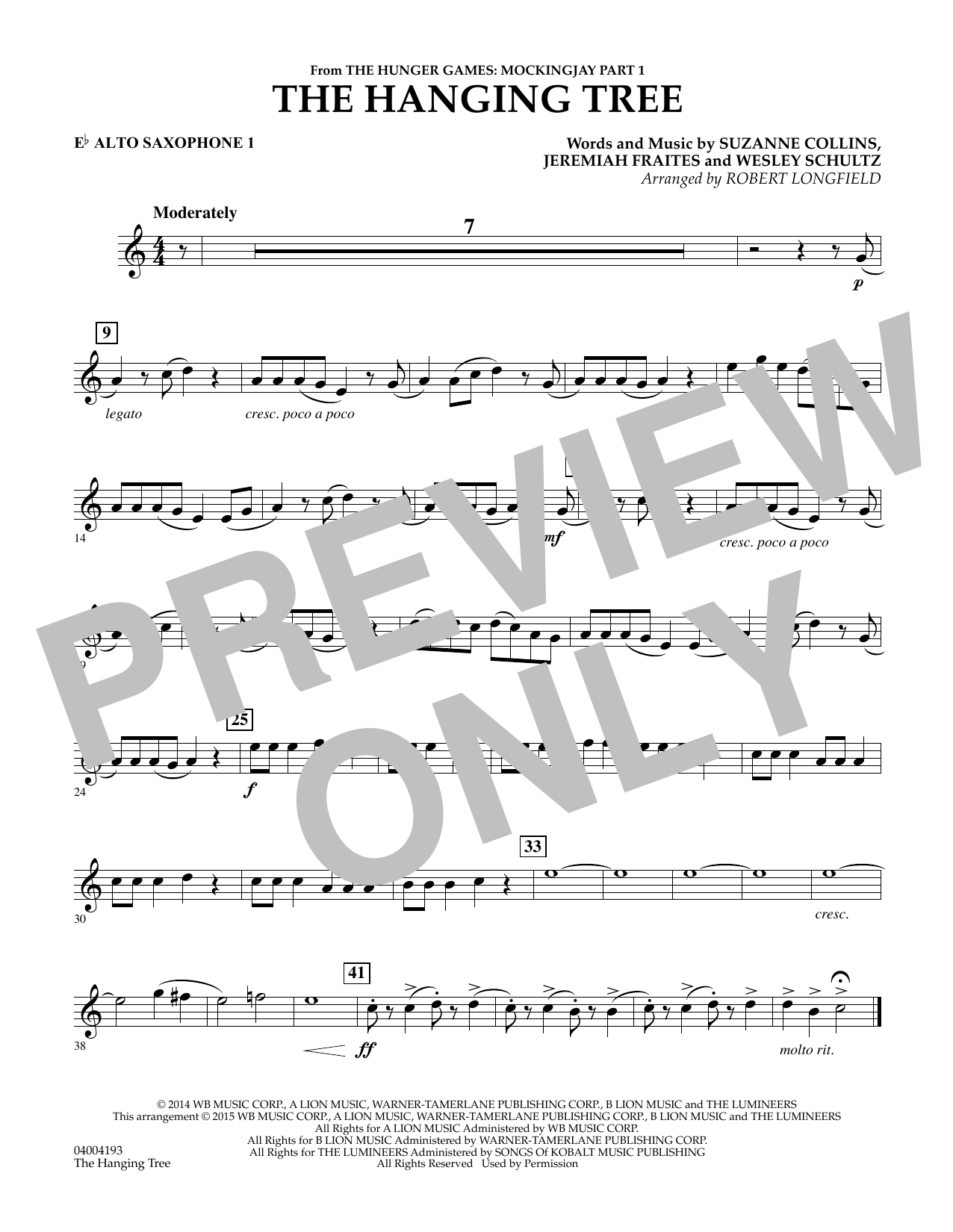 The Hanging Tree (from The Hunger Games: Mockingjay Part 1) - Eb Alto Saxophone 1 (Concert Band)