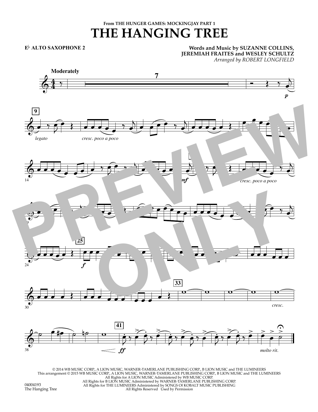 The Hanging Tree (from The Hunger Games: Mockingjay Part 1) - Eb Alto Saxophone 2 (Concert Band)