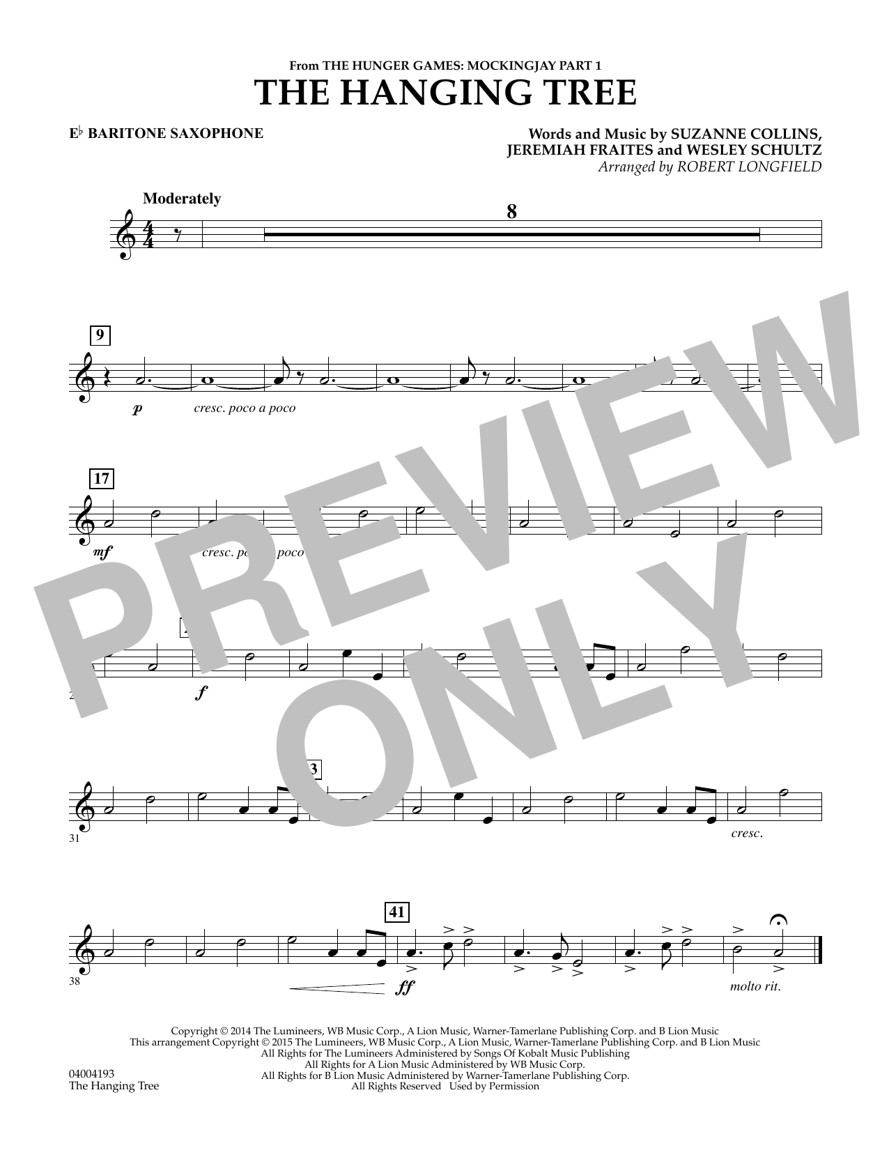 The Hanging Tree (from The Hunger Games: Mockingjay Part 1) - Eb Baritone Saxophone (Concert Band)