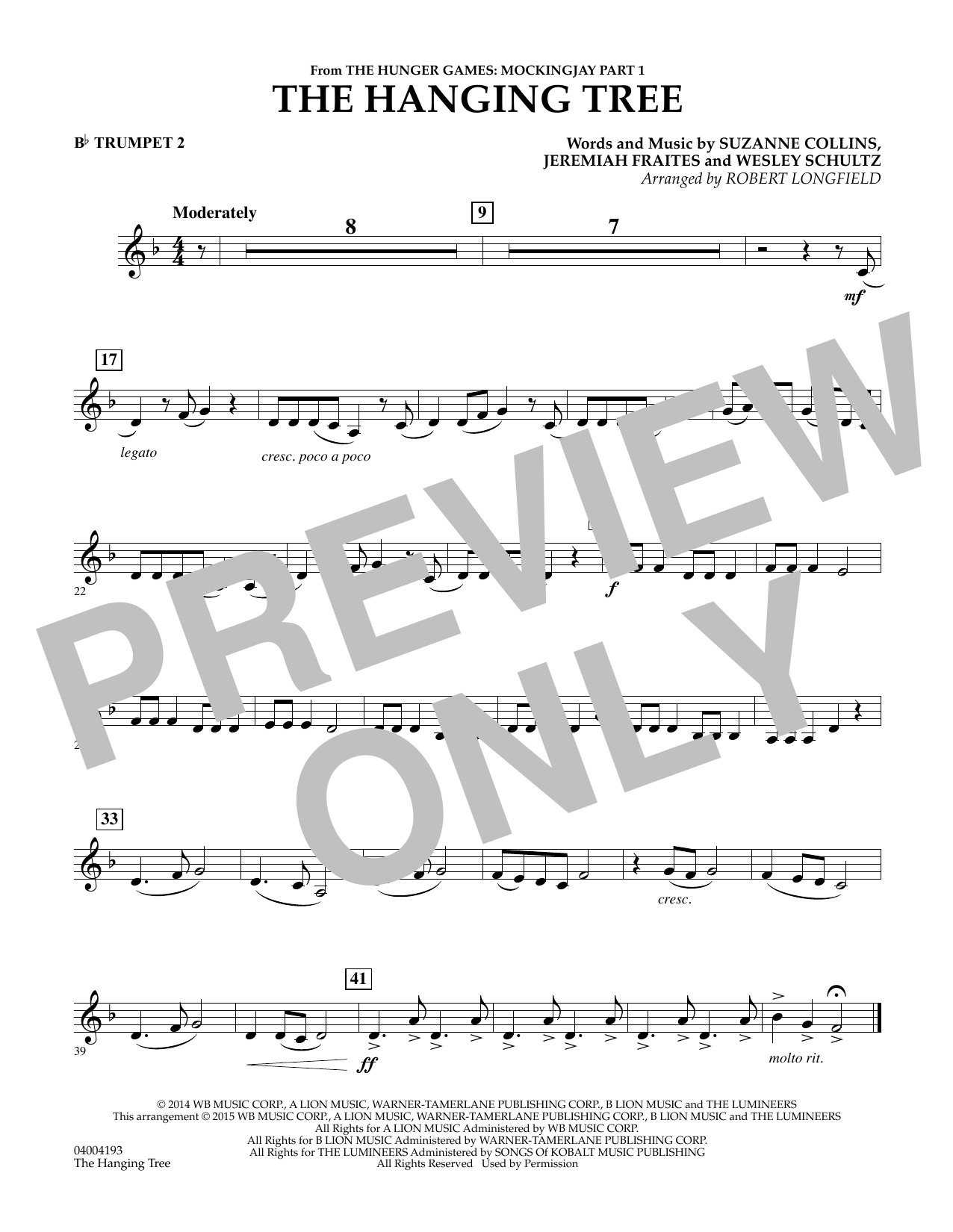 The Hanging Tree (from The Hunger Games: Mockingjay Part 1) - Bb Trumpet 2 (Concert Band)