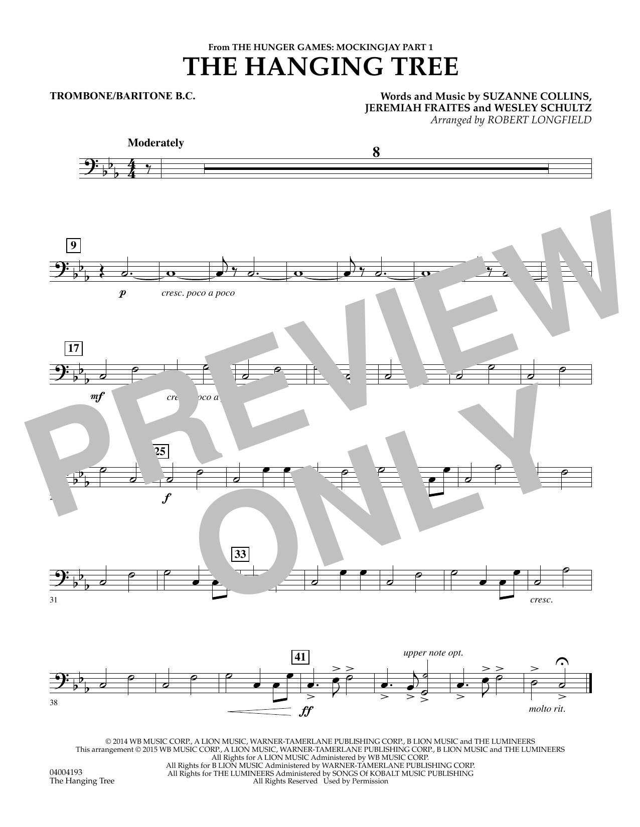 The Hanging Tree (from The Hunger Games: Mockingjay Part 1) - Trombone/Baritone B.C. (Concert Band)