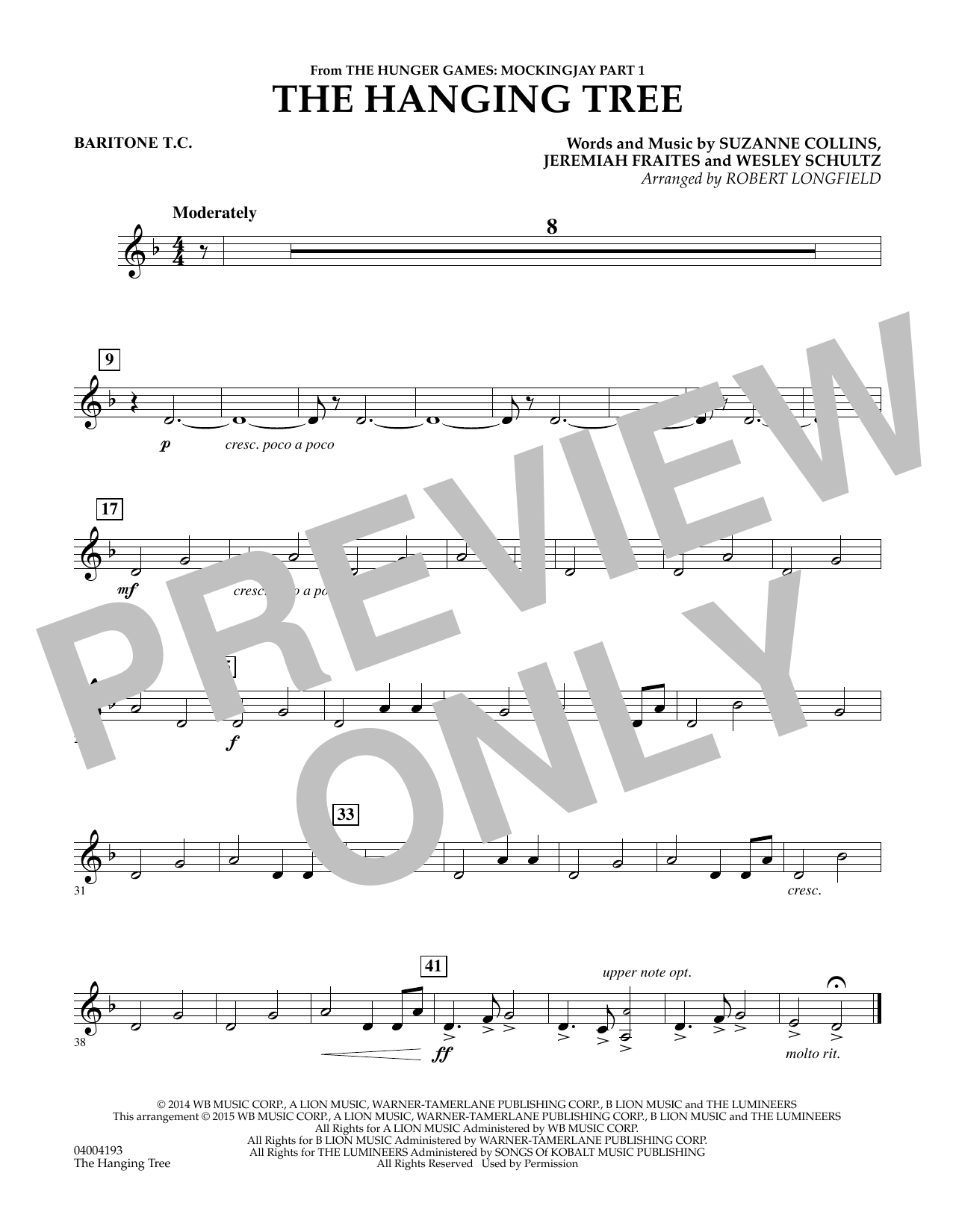The Hanging Tree (from The Hunger Games: Mockingjay Part 1) - Baritone T.C. (Concert Band)