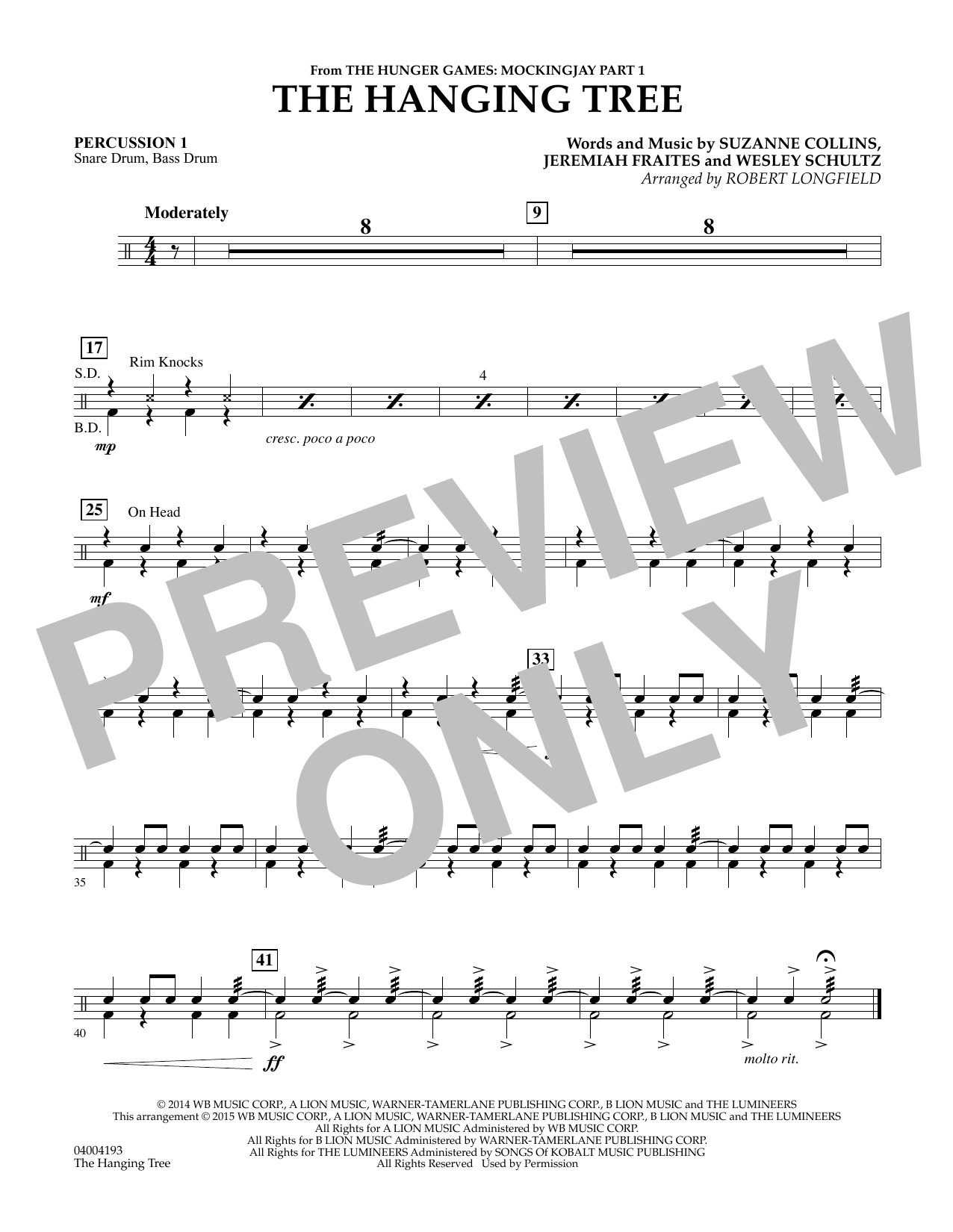 The Hanging Tree (from The Hunger Games: Mockingjay Part 1) - Percussion 1 (Concert Band)