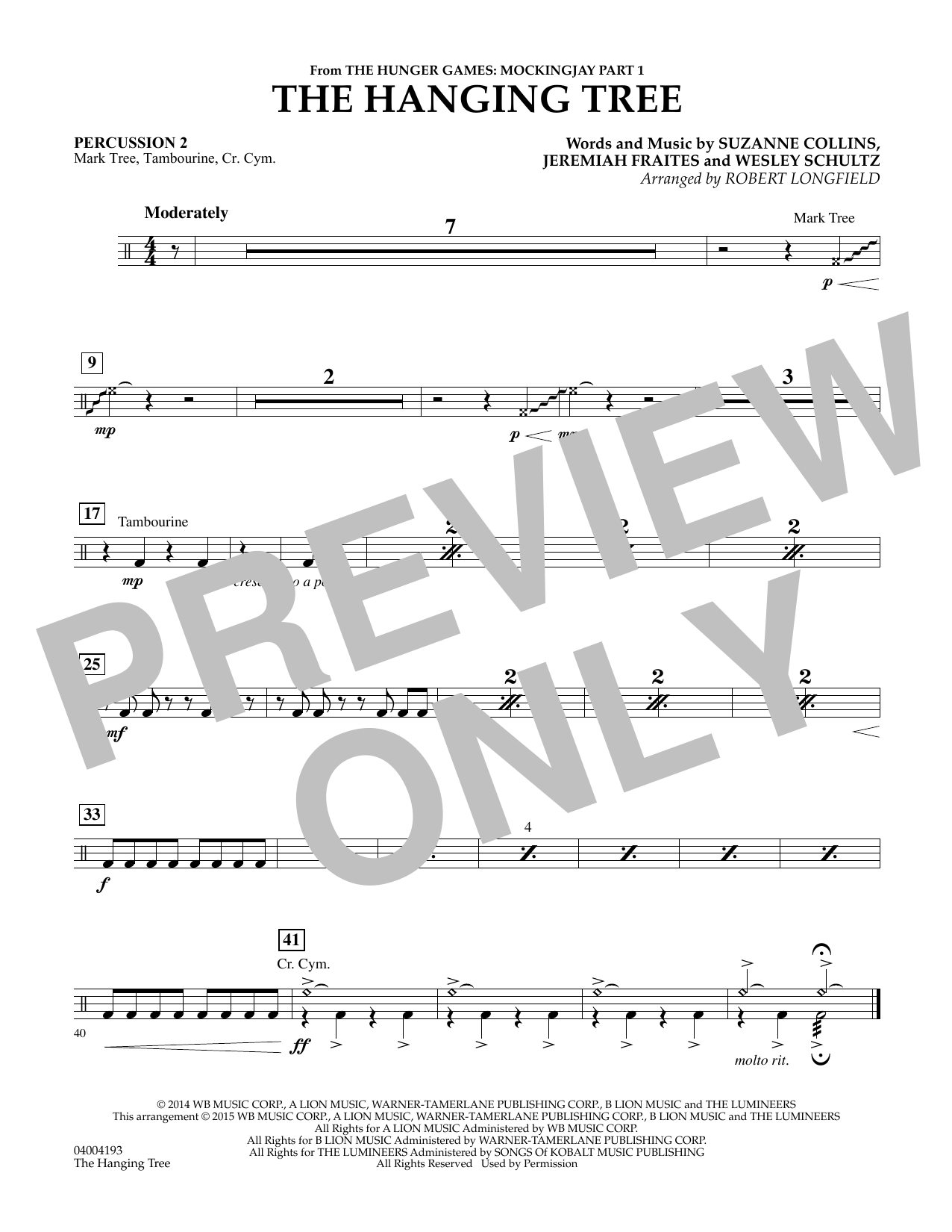 The Hanging Tree (from The Hunger Games: Mockingjay Part 1) - Percussion 2 (Concert Band)