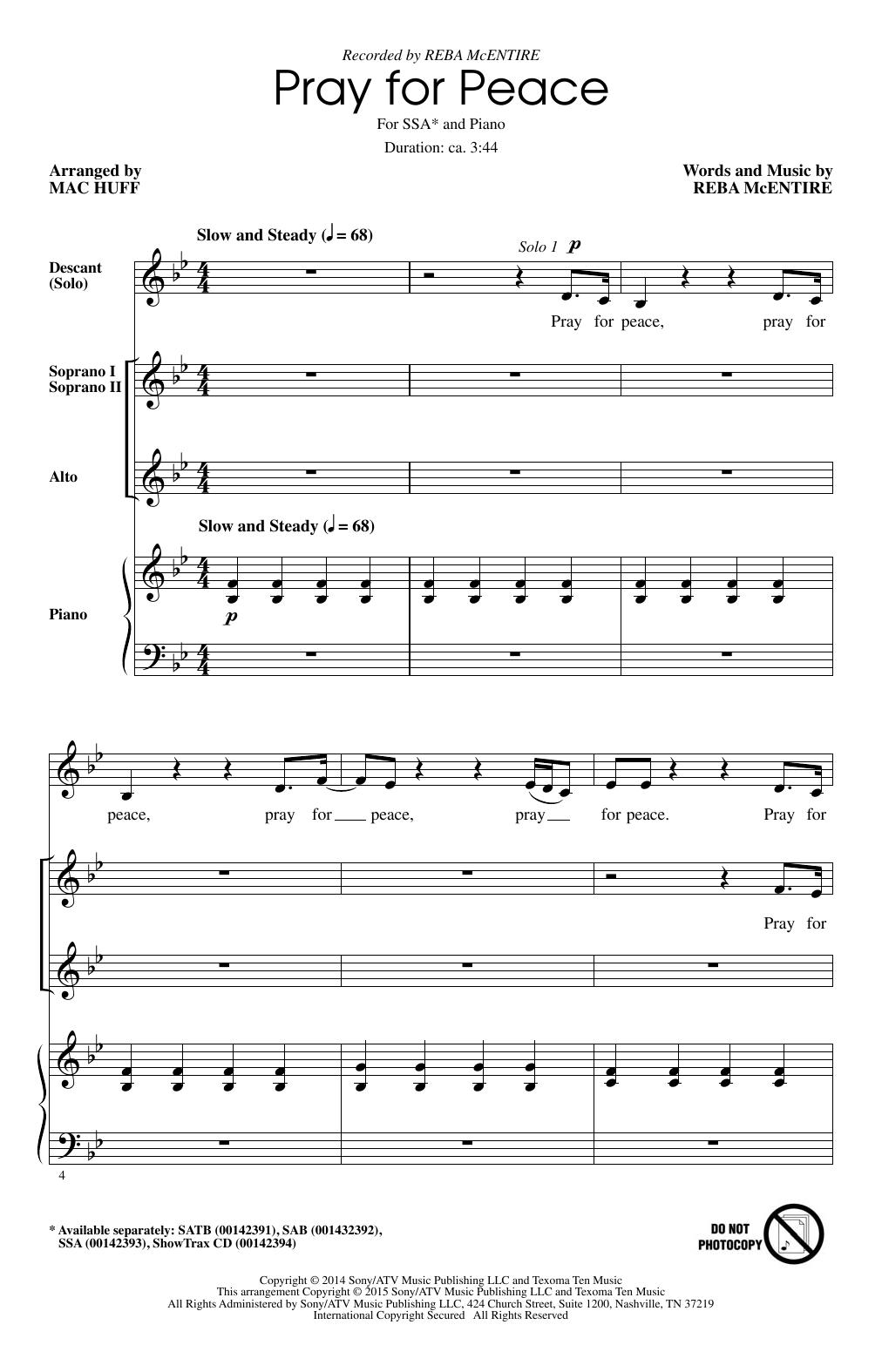 Partition chorale Pray For Peace de Reba McEntire - SSA