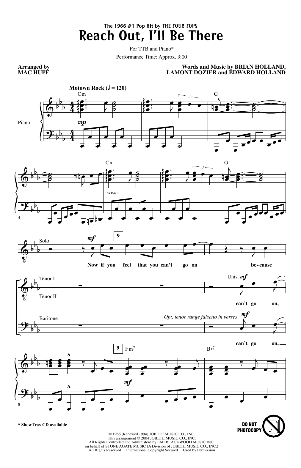 Reach Out I'll Be There (arr. Mac Huff) (TTBB Choir)
