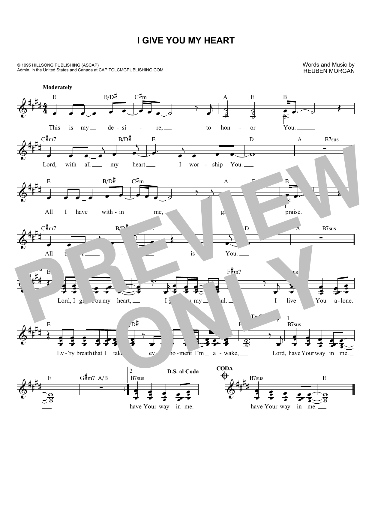 I Give You My Heart (Lead Sheet / Fake Book)