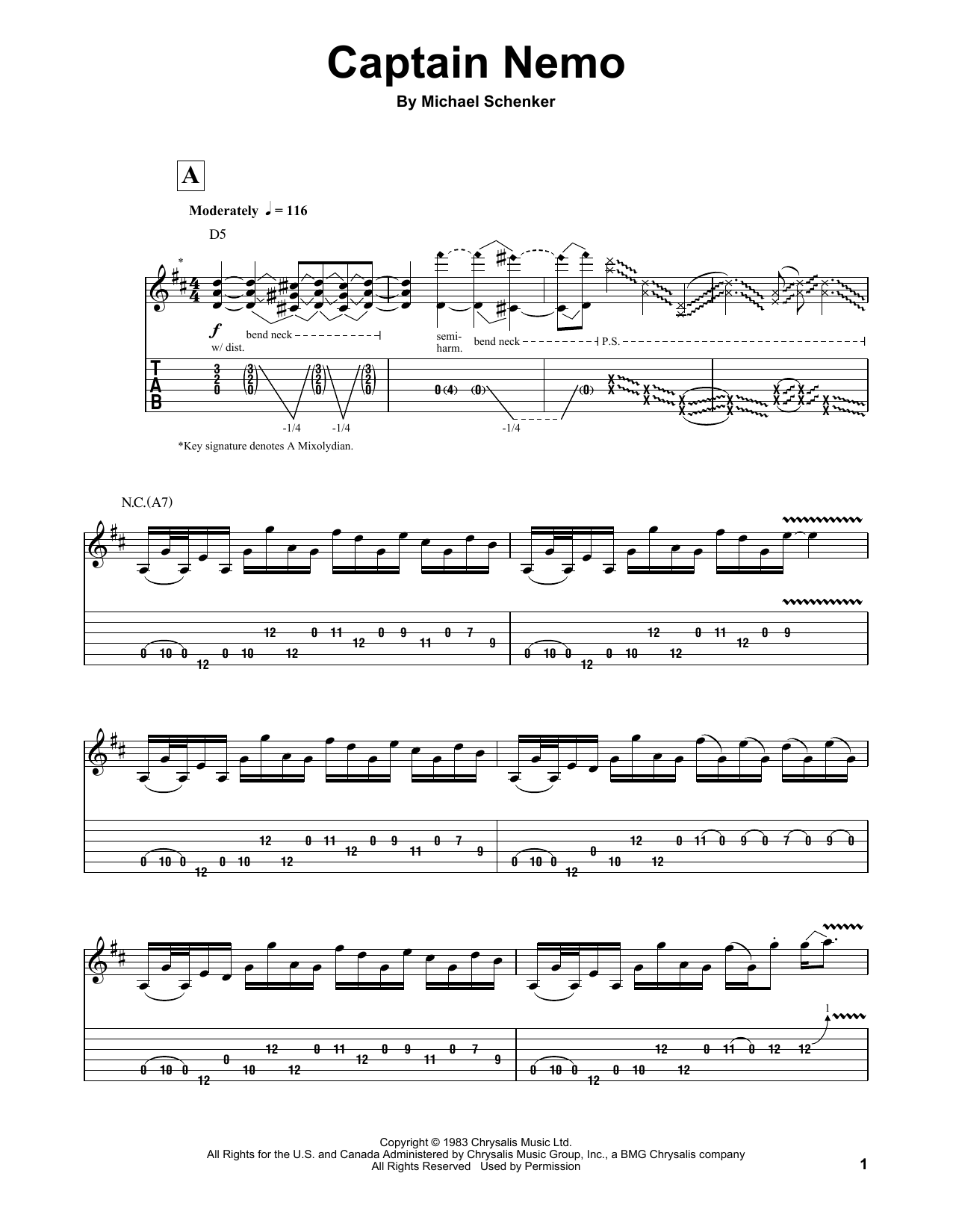 Tablature guitare Captain Nemo de Michael Schenker Group - Autre