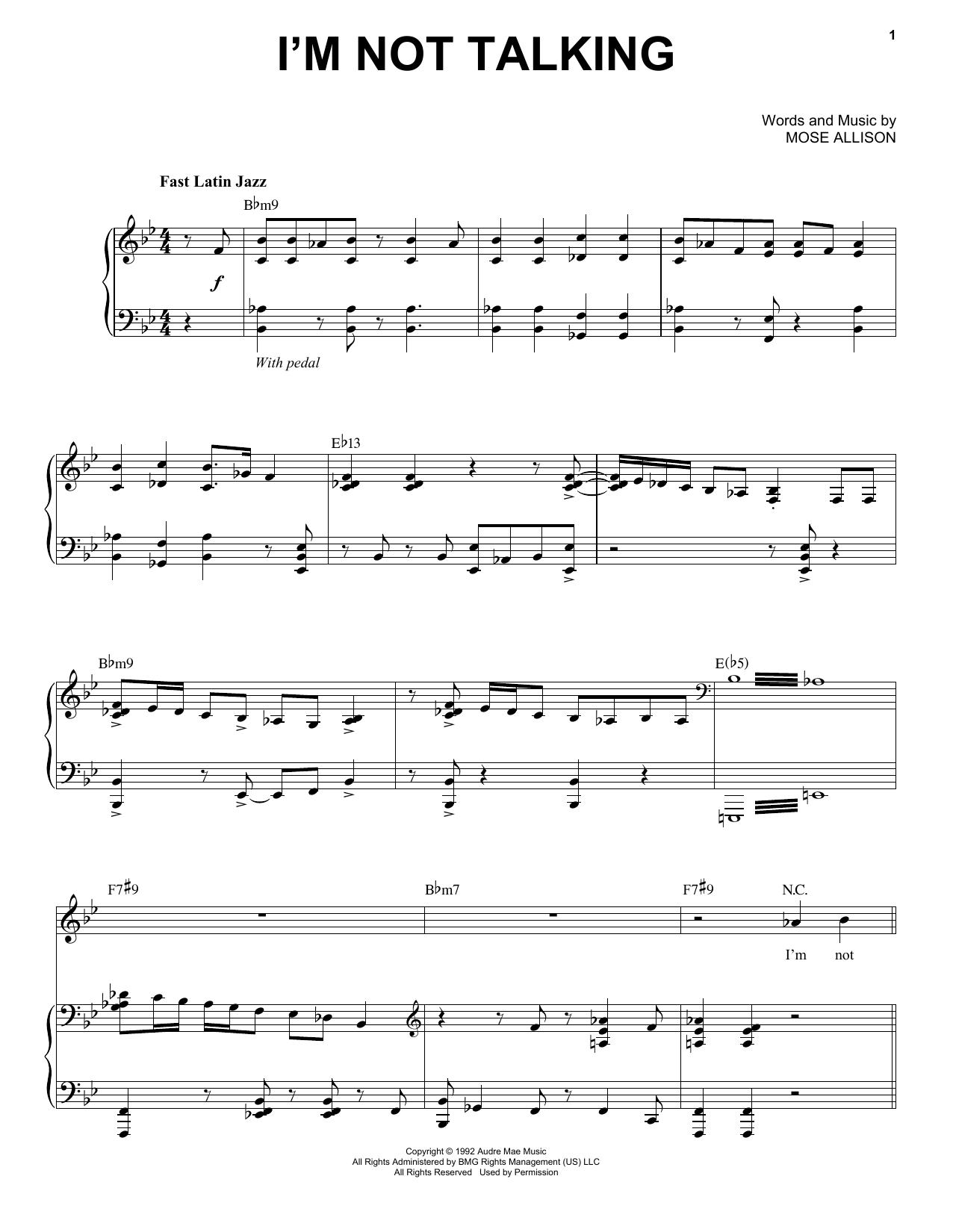 Partition piano I'm Not Talking de Mose Allison - Piano Voix