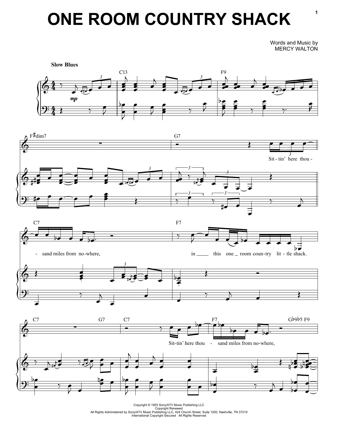 One Room Country Shack Sheet Music