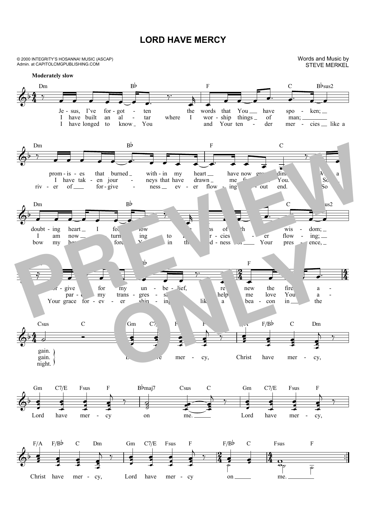 Lord Have Mercy (Lead Sheet / Fake Book)