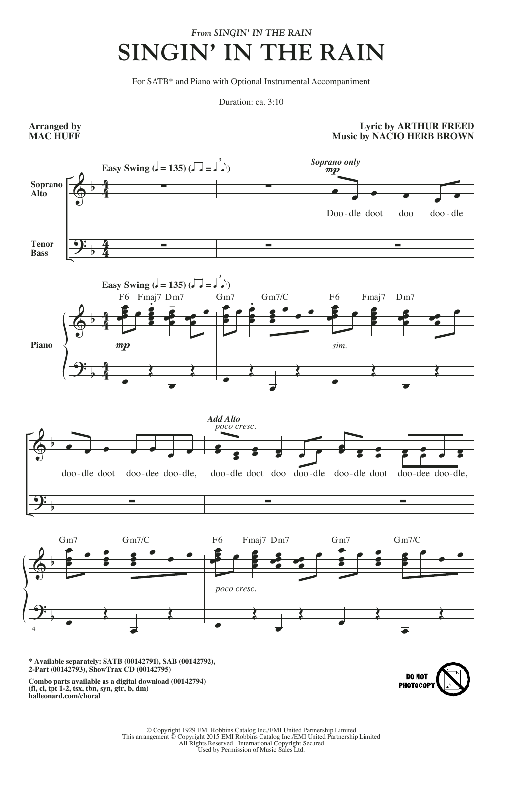 Singin' In The Rain Sheet Music