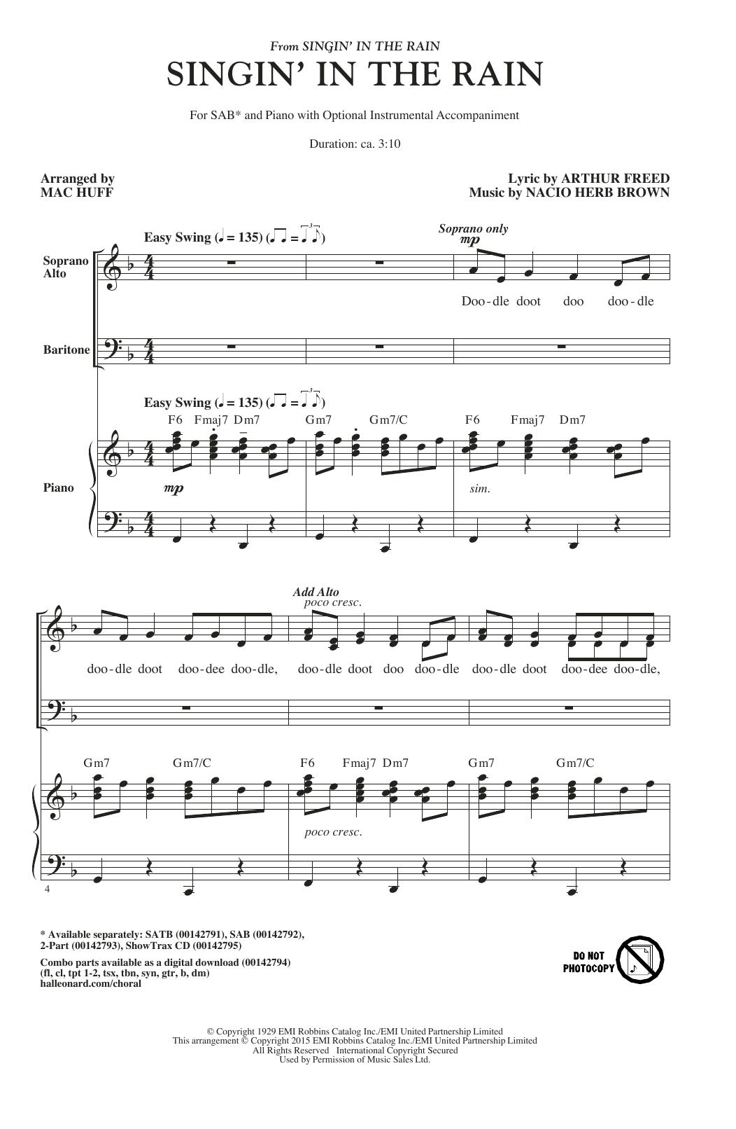 Partition chorale Singin' In The Rain de Arthur Freed - SAB