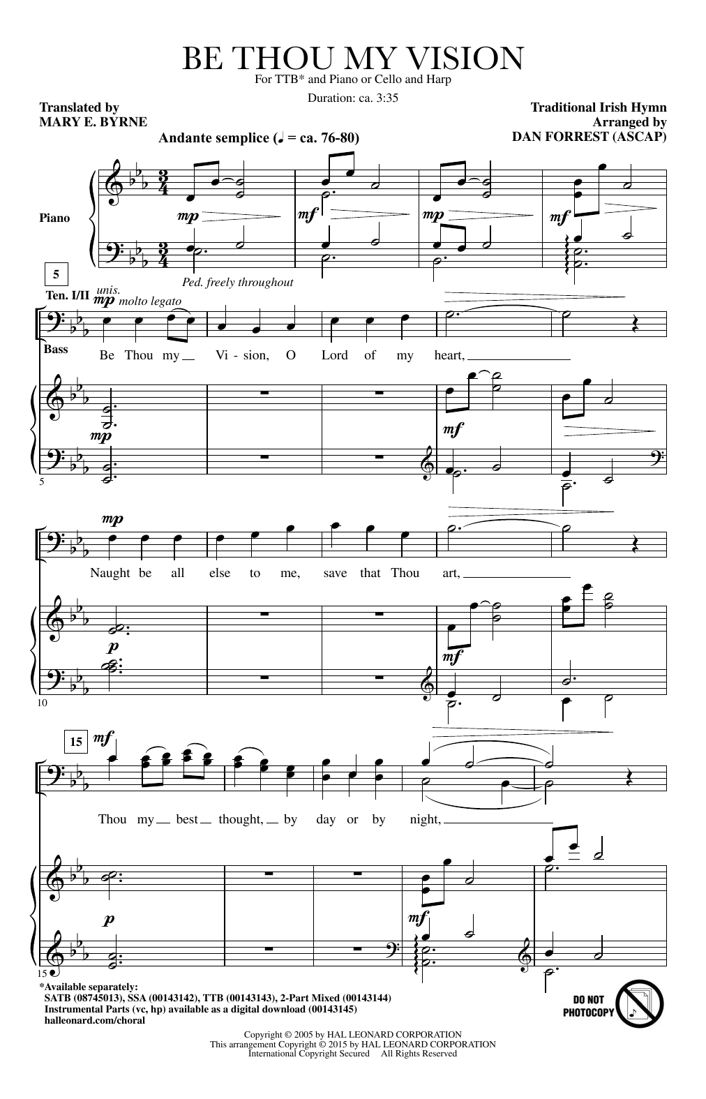 Be Thou My Vision (arr. Dan Forrest) Partition Digitale