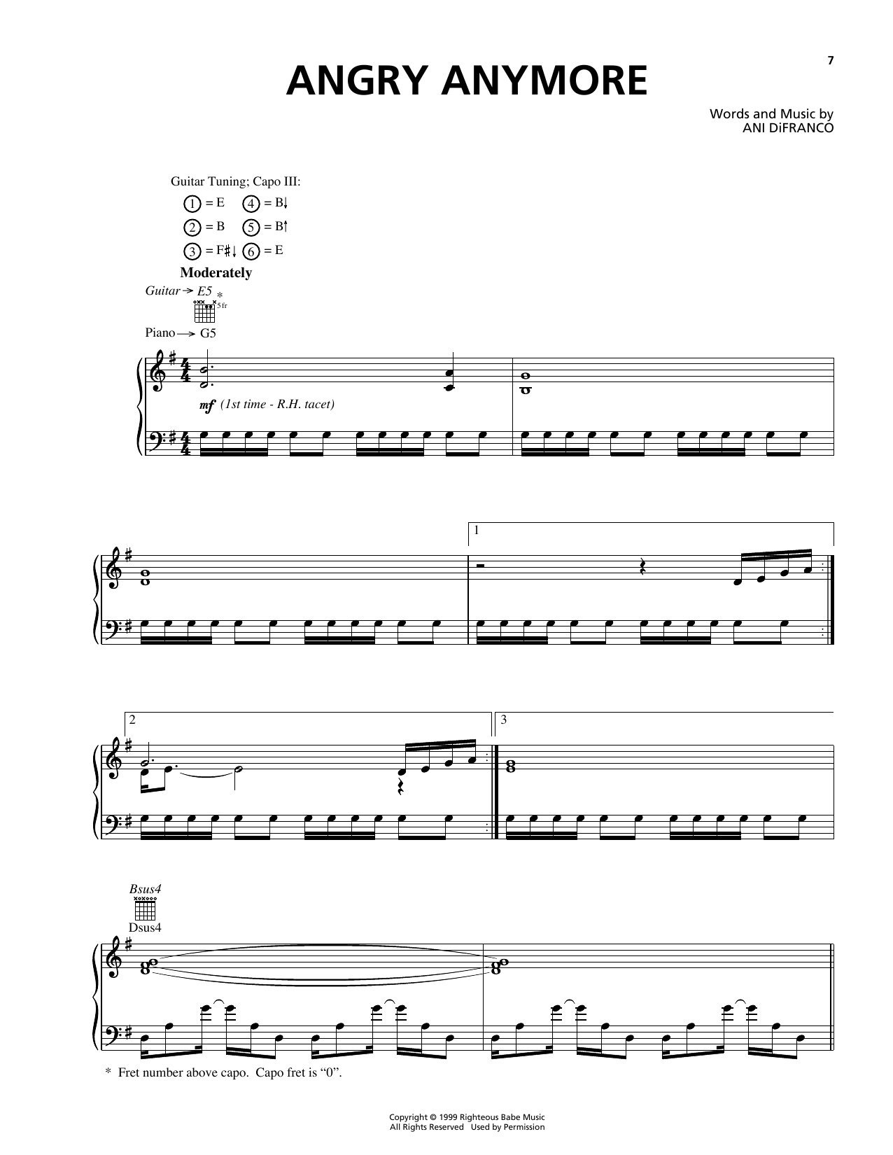 Angry Anymore Sheet Music