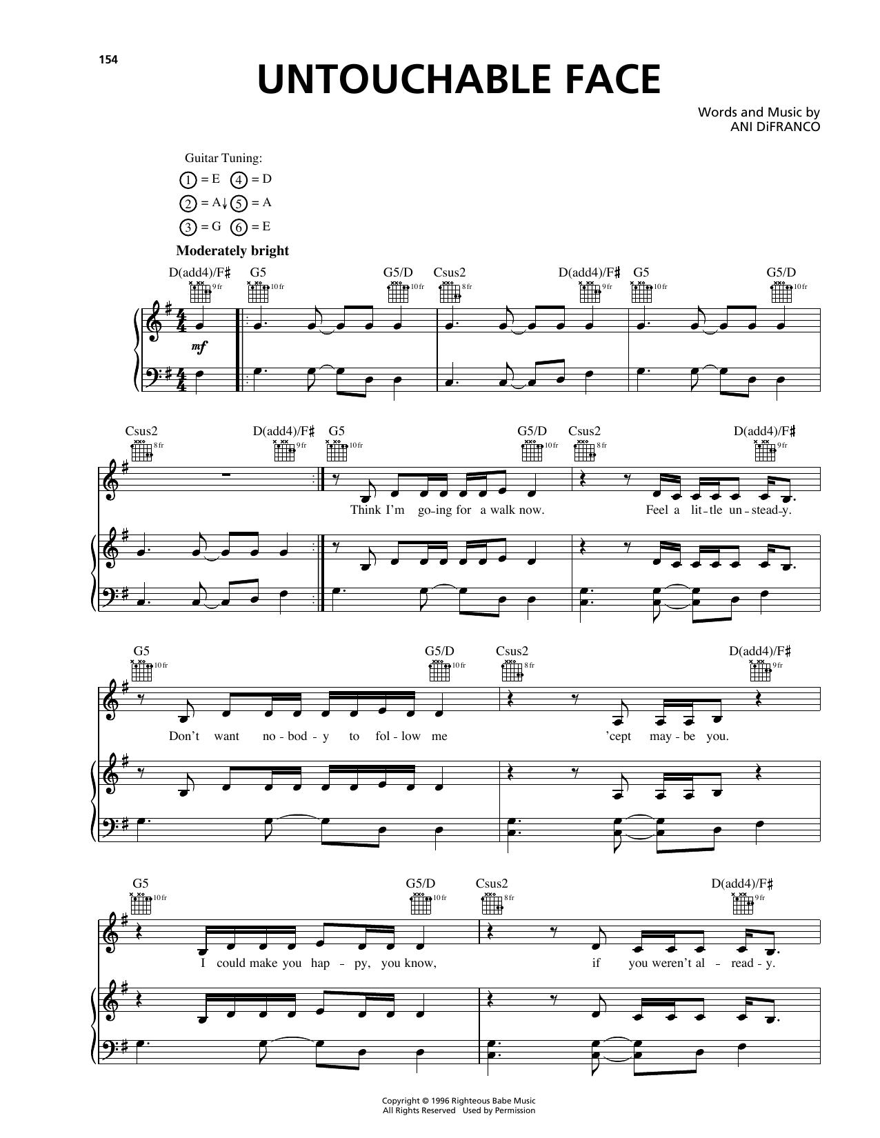 Untouchable Face Ani Difranco Piano Vocal Guitar Right Hand