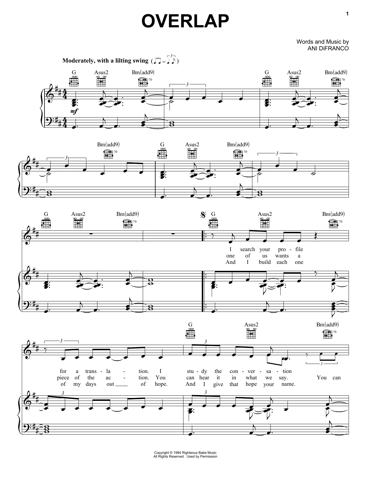 Overlap Sheet Music
