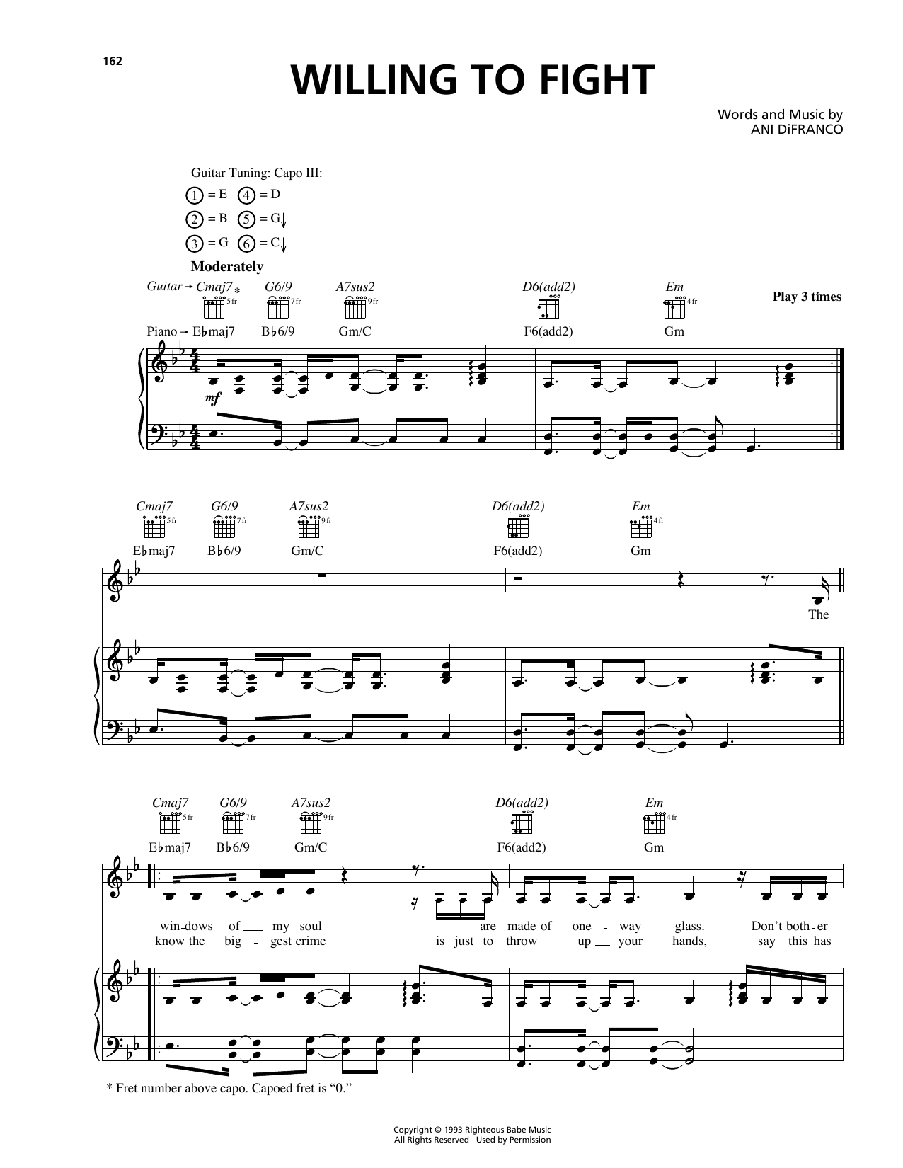 Willing To Fight Sheet Music