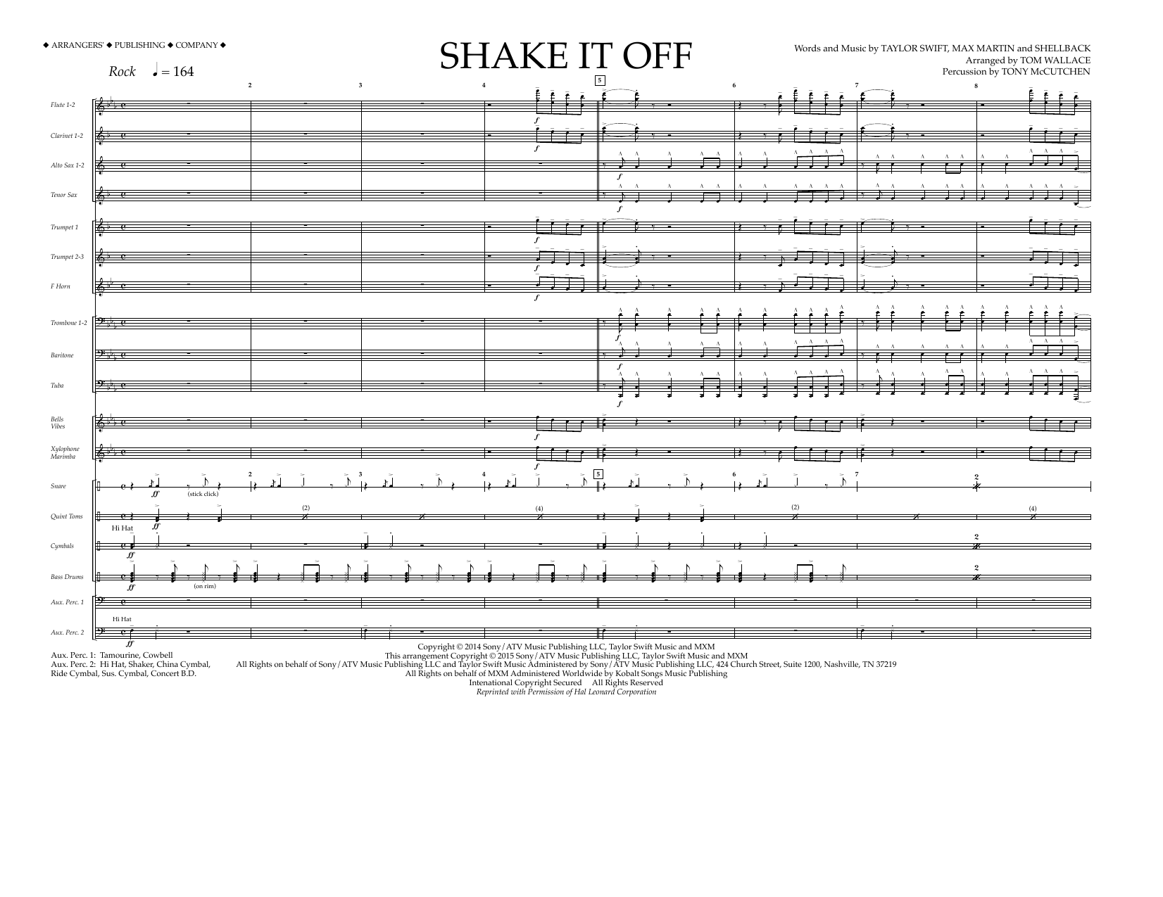 Shake It Off (COMPLETE) sheet music for marching band by Tom Wallace, Johan Schuster, Max Martin, Shellback and Taylor Swift. Score Image Preview.