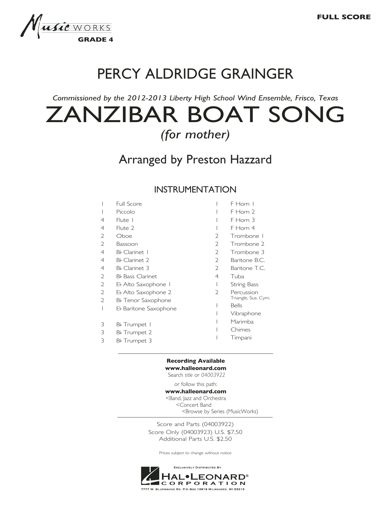 Zanzibar Boat Song (COMPLETE) sheet music for concert band by Preston Hazzard and Percy Aldridge Grainger. Score Image Preview.