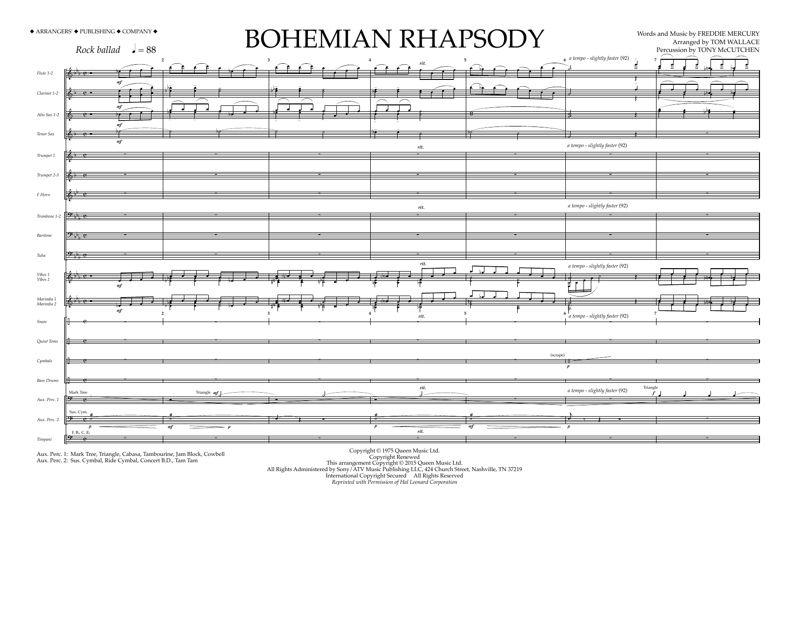 Bohemian Rhapsody (COMPLETE) sheet music for marching band by Tom Wallace, Freddie Mercury and Queen. Score Image Preview.