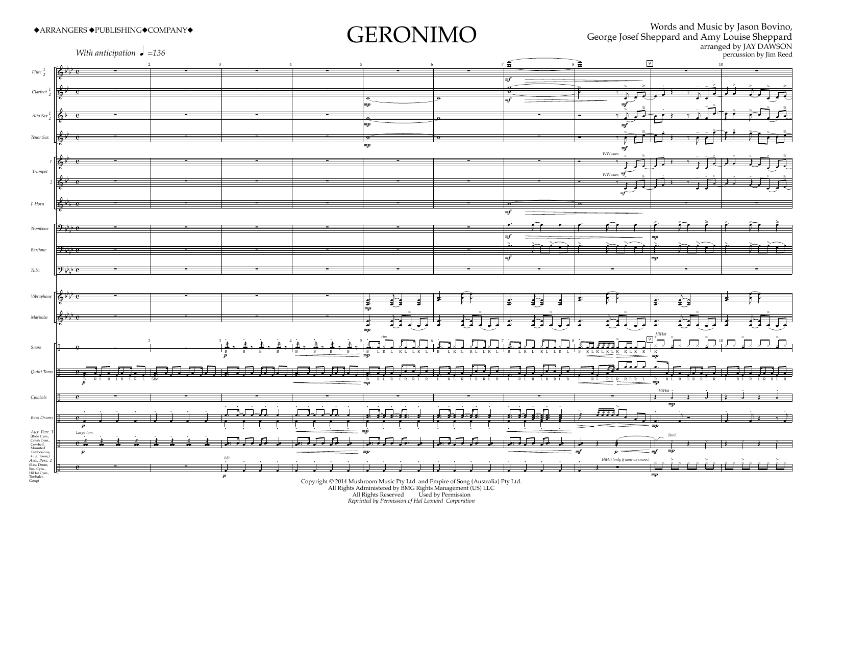 Geronimo (COMPLETE) sheet music for marching band by Jay Dawson, Amy Louise Sheppard, Jason Bovino and Sheppard. Score Image Preview.