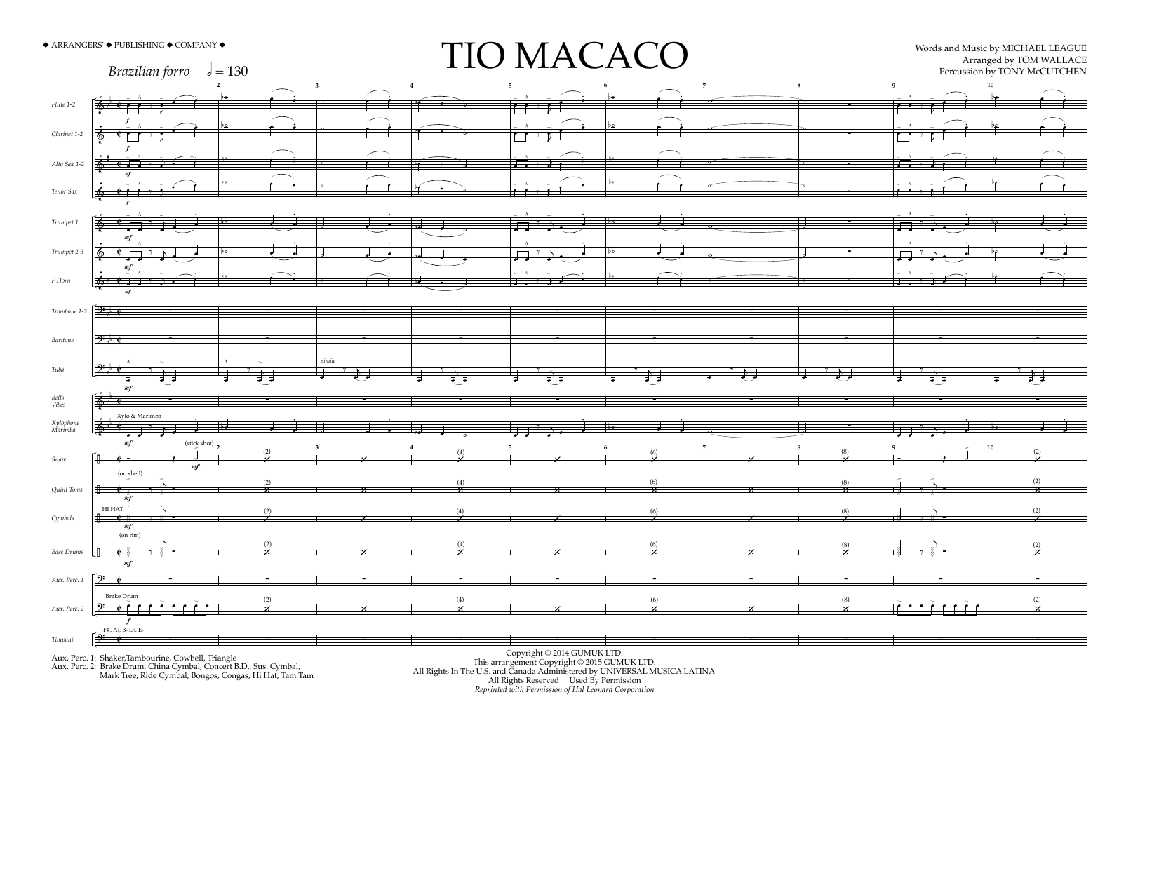 Tio Macaco (COMPLETE) sheet music for marching band by Tom Wallace. Score Image Preview.