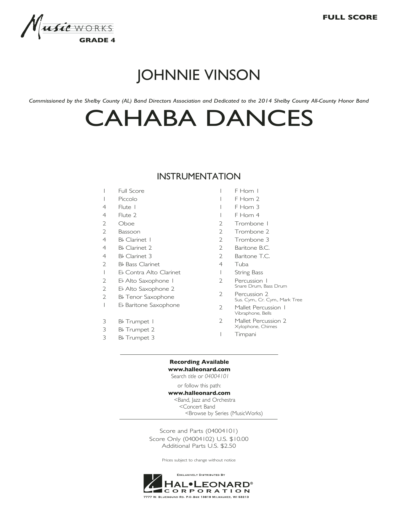 Cahaba Dances (COMPLETE) sheet music for concert band by Johnnie Vinson. Score Image Preview.