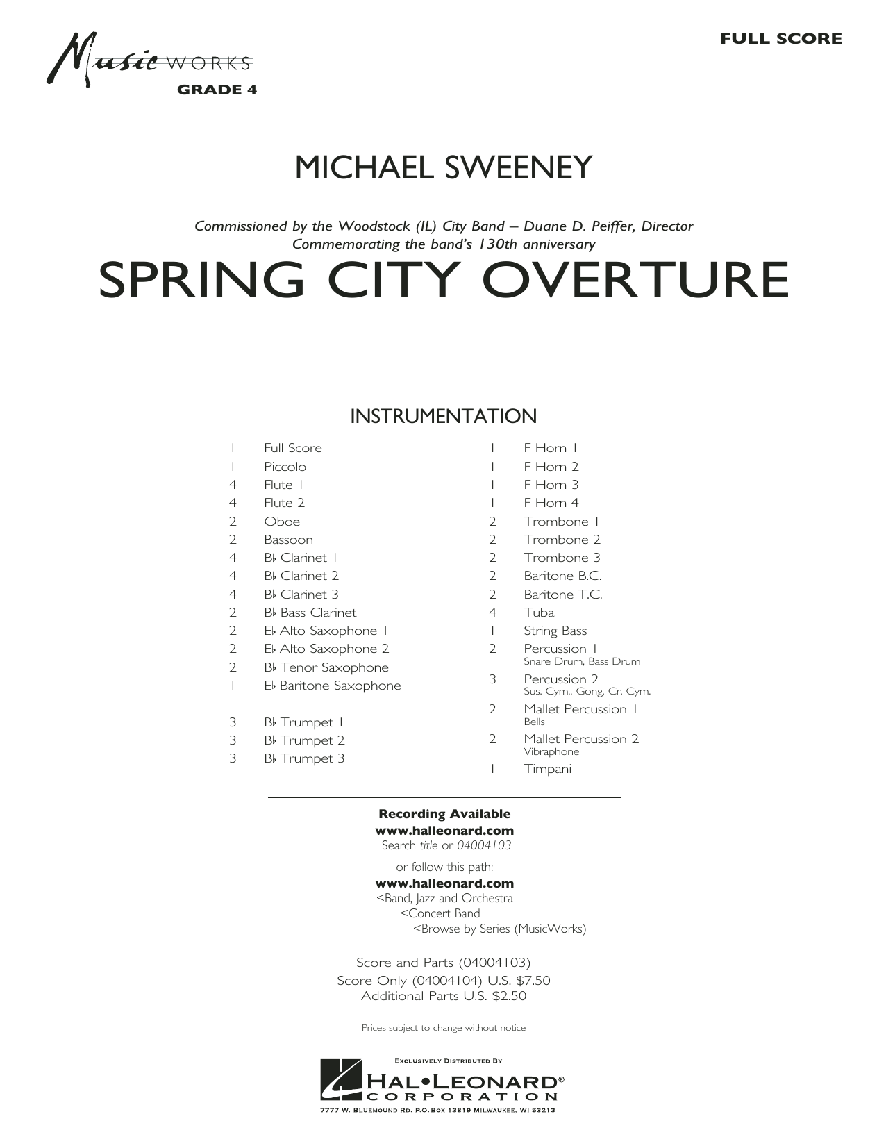 Spring City Overture (COMPLETE) sheet music for concert band by Michael Sweeney. Score Image Preview.