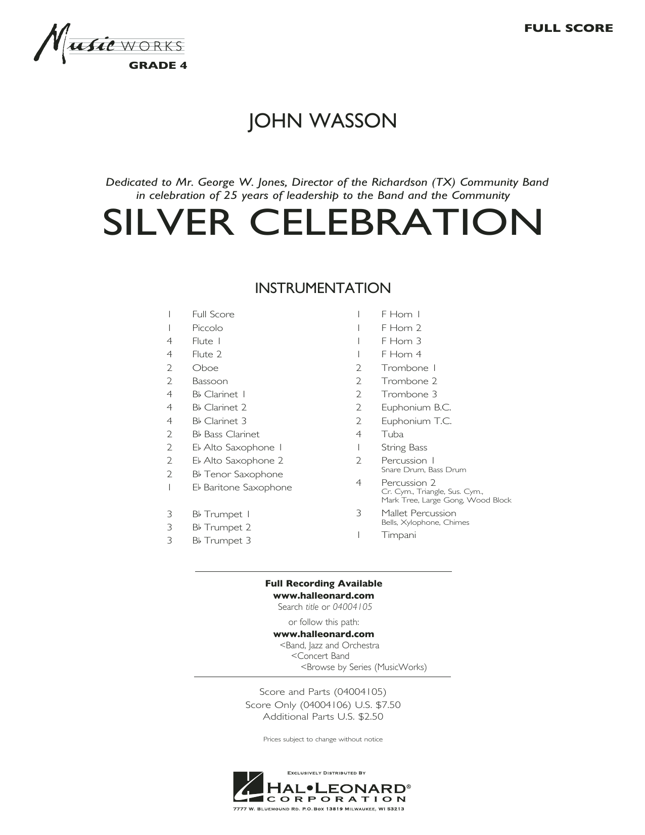 Silver Celebration (COMPLETE) sheet music for concert band by John Wasson. Score Image Preview.