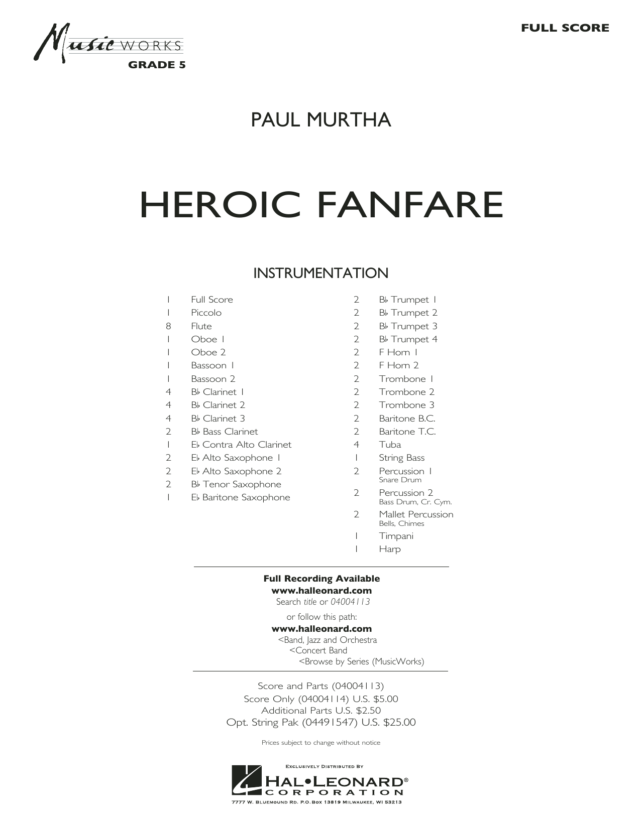 Heroic Fanfare (COMPLETE) sheet music for concert band by Paul Murtha. Score Image Preview.
