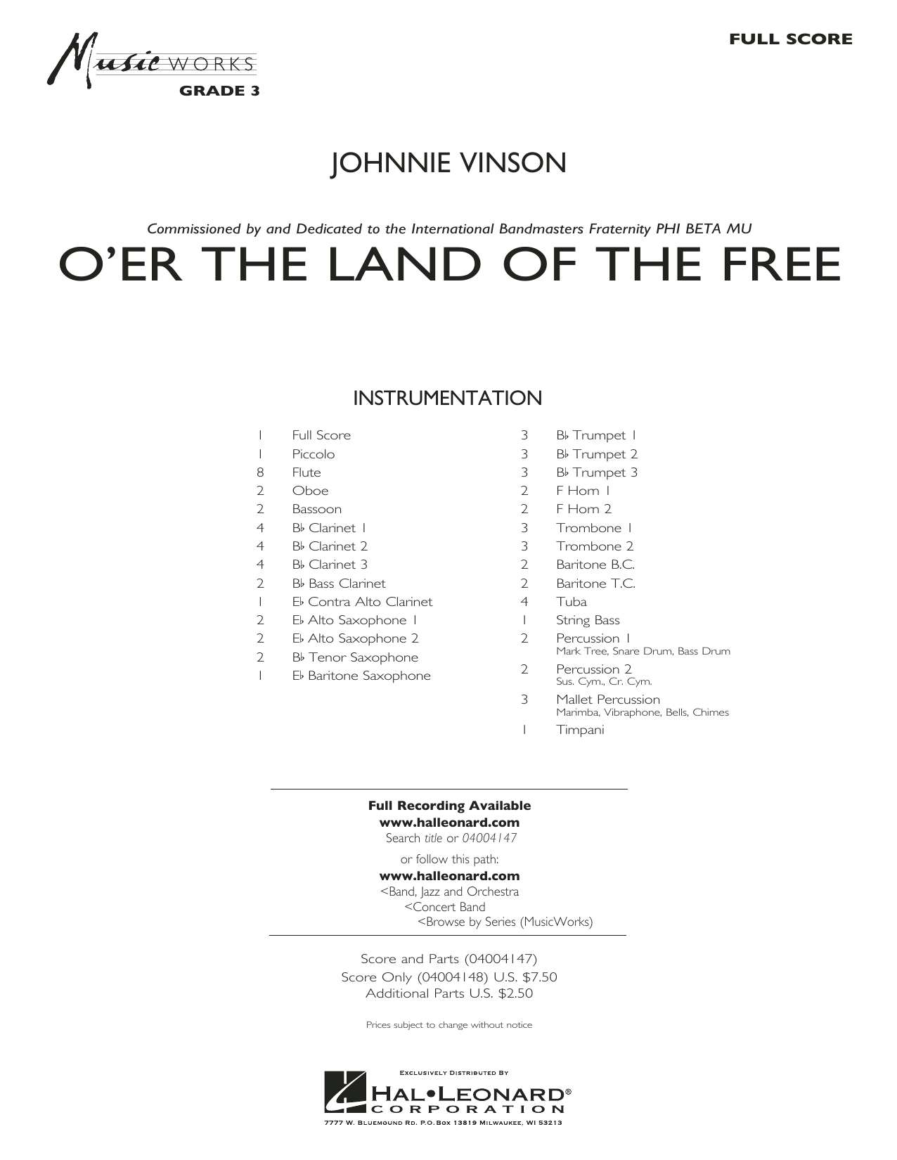 O'er the Land of the Free (COMPLETE) sheet music for concert band by Johnnie Vinson. Score Image Preview.