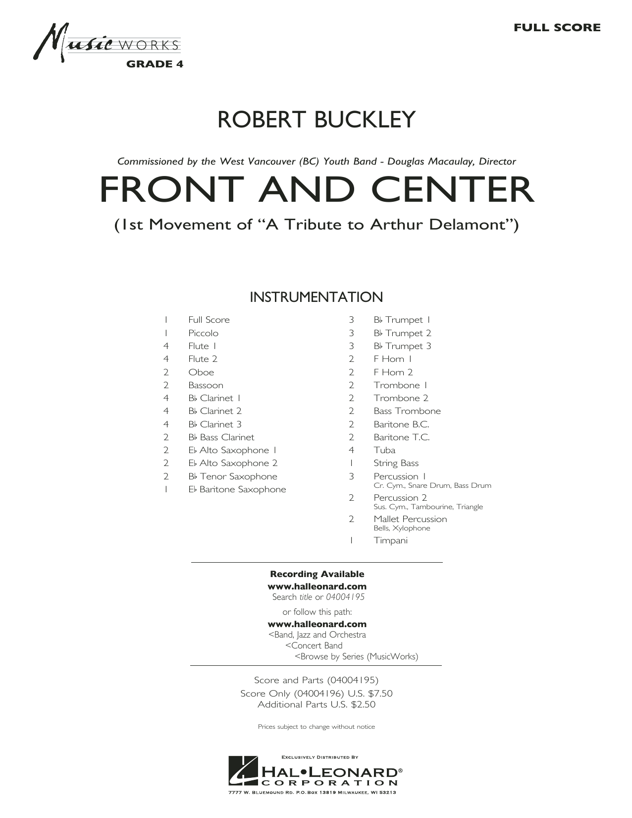 Front and Center (COMPLETE) sheet music for concert band by Robert Buckley. Score Image Preview.