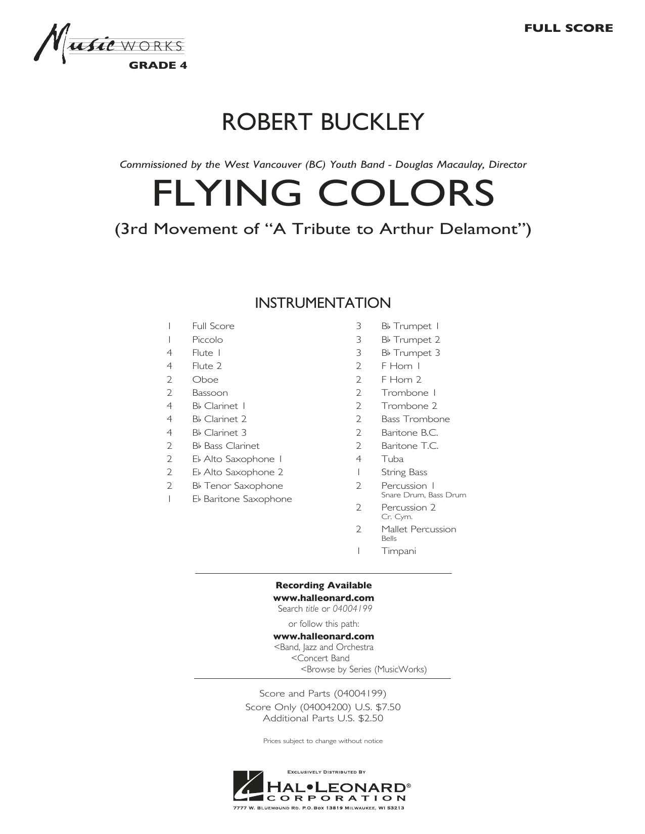 Flying Colors (COMPLETE) sheet music for concert band by Robert Buckley. Score Image Preview.