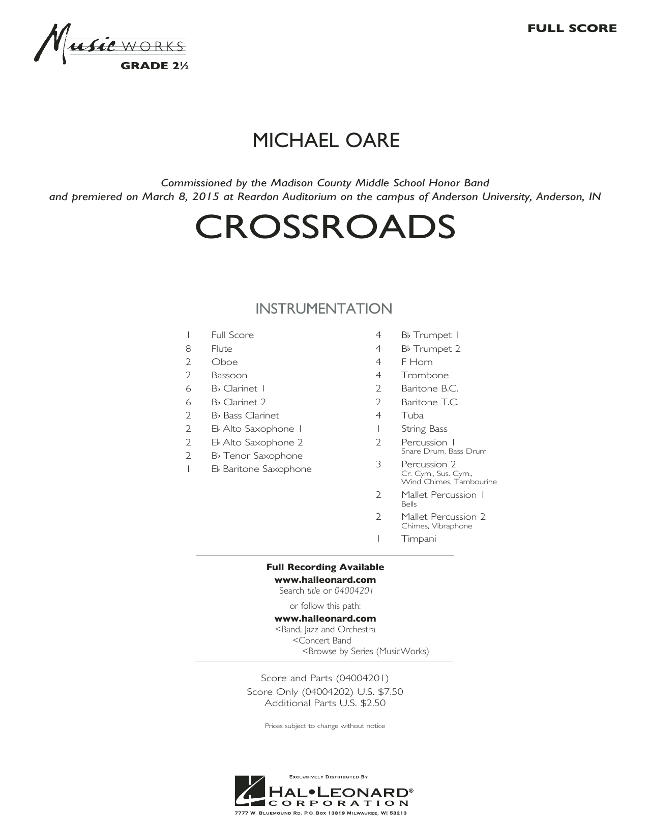 Crossroads (COMPLETE) sheet music for concert band by Michael Oare. Score Image Preview.