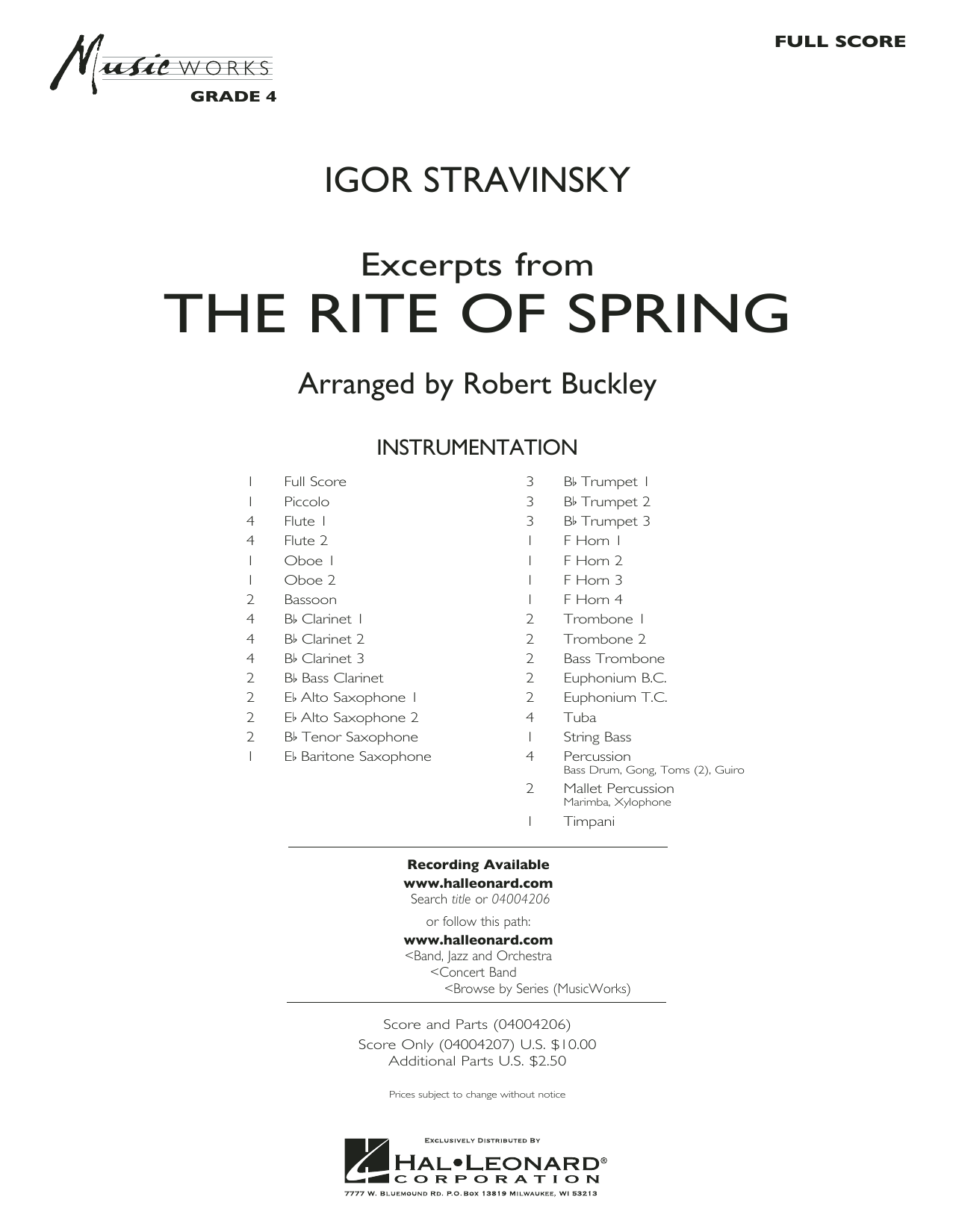 Excerpts from The Rite of Spring (COMPLETE) sheet music for concert band by Igor Stravinsky and Robert Buckley. Score Image Preview.