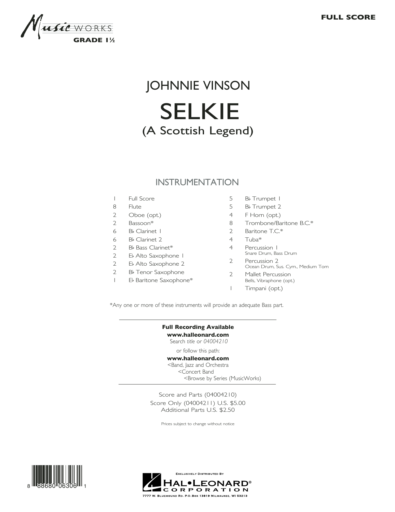 Selkie (A Scottish Legend) (COMPLETE) sheet music for concert band by Johnnie Vinson. Score Image Preview.