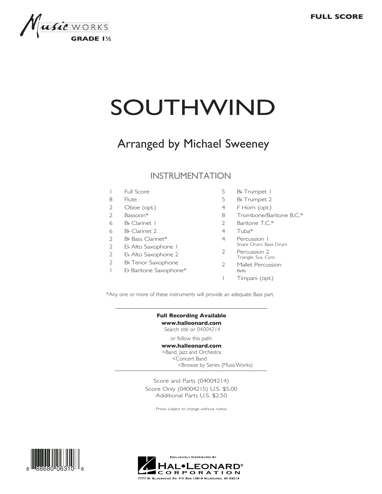 Southwind (COMPLETE) sheet music for concert band by Michael Sweeney. Score Image Preview.